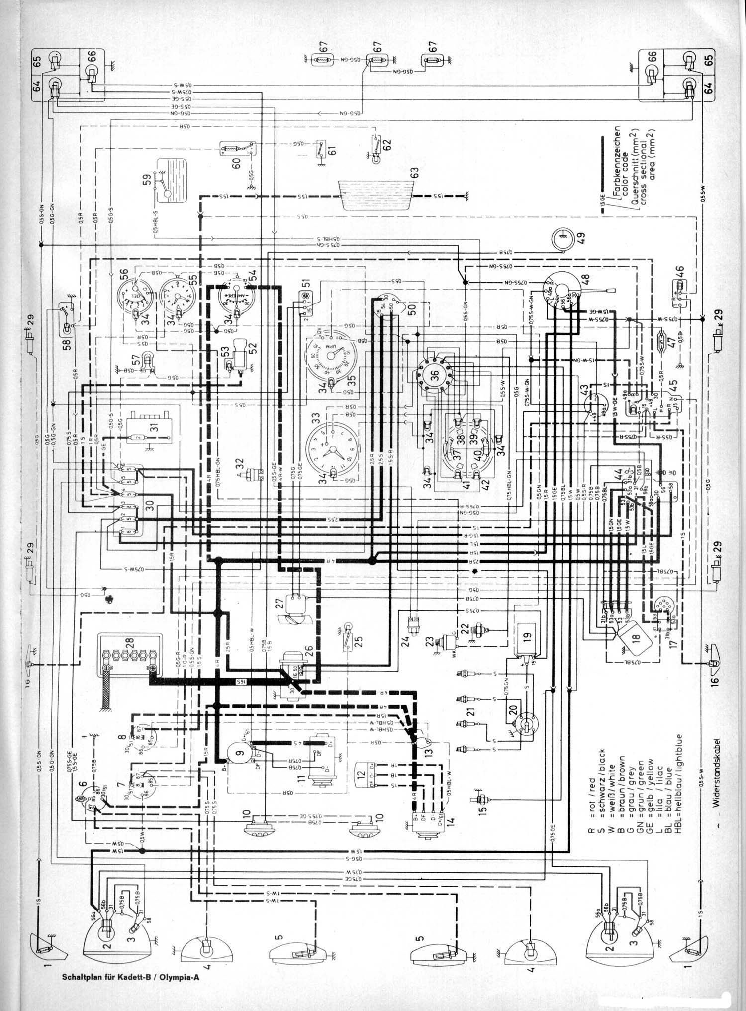 sch u00e9ma electrique opel kadett b